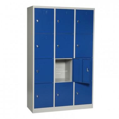 vestiaire multicases 12 cases avec porte de casier ouverte