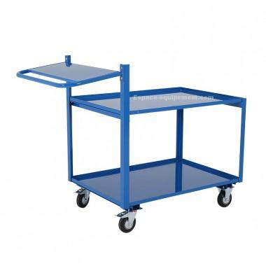 Vue d'ensemble du chariot préparateur de commande en acier plié finition peinture époxy bleue