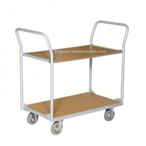 Vue d'ensemble du Chariot metallique 2 plateaux bois