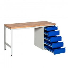 Etabli d'atelier avec caisson 5 tiroirs à ouverture totale