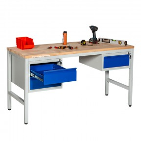 Etabli d'atelier professionnel avec 2 blocs tiroirs