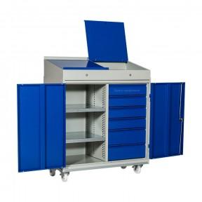 Armoire pupitre d'atelier mobile professionnelle 2 portes avec tablettes et 6 tiroirs