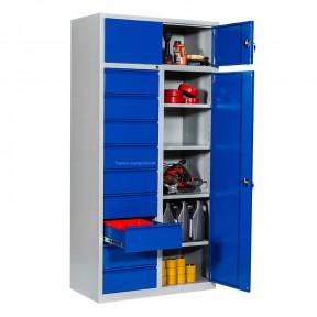 armoire atelier professionnelle portes battantes et tiroirs ouverts