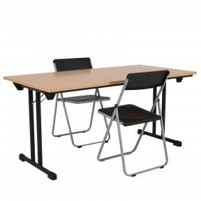 Table pliante hêtre pieds rabattables noirs mise en situation .